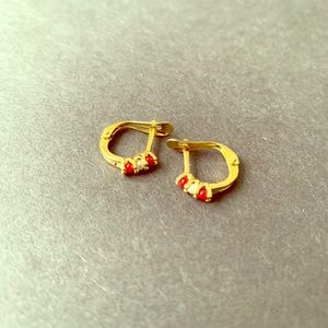 Gold plated 18 k Coral-Pearl earrings